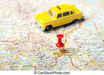 Tripoli Greece map taxi - Close up of Tripoli ,Greece map...