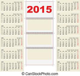 2015 Quarterly calendar template