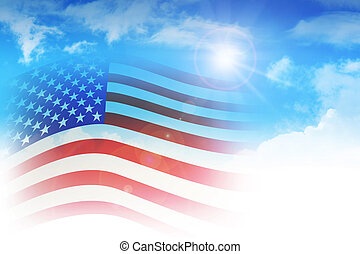 USA Flag - Illustration of a flag among the clouds