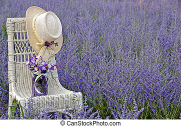 hat on chair in Russian sage field - Hat and glass jar with...