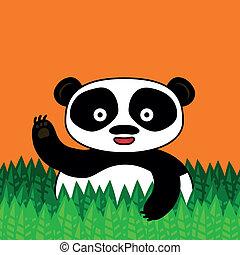 Happy panda smiling and waving