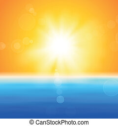 Background with shiny sun over the sea - Background with...