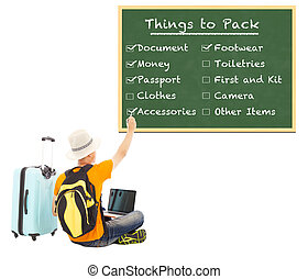 young backpacker check things to pack on blackboard