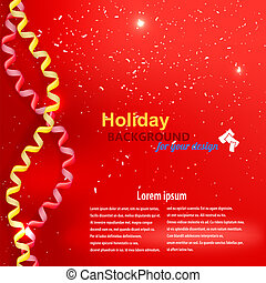 Holiday background with streamer and confetti
