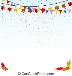 Autumn holiday background with confetti and flags. Vector illust