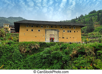 Hakka Roundhouse tulou walled village located in Fujian,...