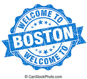 welcome to Boston blue vintage isolated seal