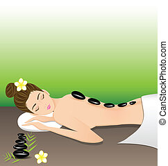 Beautiful woman lying a therapy with hot stones in spa