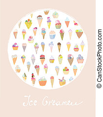 Ice cream cute card for summer