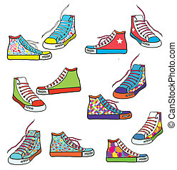 Set of sneakers with pattern funny design