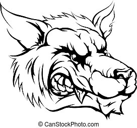 Wolf mascot character - A black and white illustration of a...