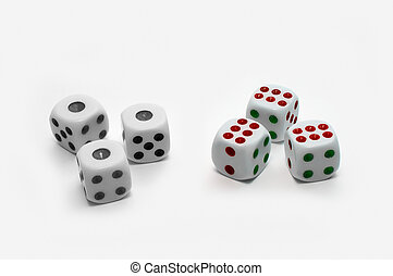 Dices - Black-and-white and colorful dices on white...