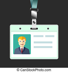 Blank id badge, name tag holder with avatar