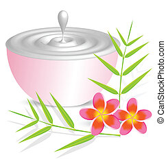 Beauty cream container on white background with flower and bambo