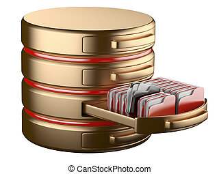database storage concept on servers in cloud. 3D image...