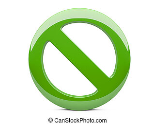 green forbidden sign isolated on the white background