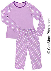 Pink childrens girls pajama set isolated on white background