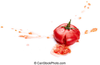 Crushed tomato isolated on white background