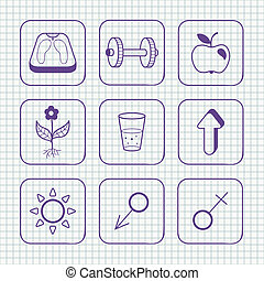 Sketches simple medical icons set