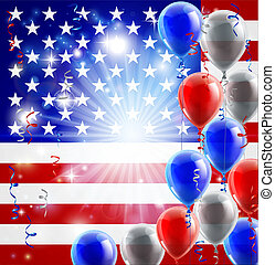 EUA, 4th, julho, balões, fundo