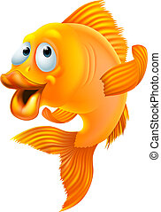 Goldfish cartoon - An illustration of a happy goldfish...