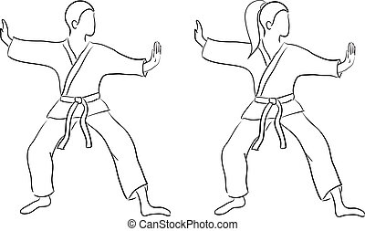 Karate doodle (man and woman) isolated on white background