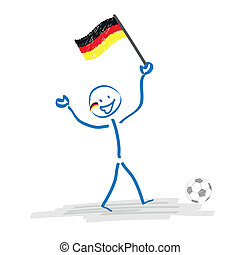 Stickman German Football Fan - Stickman with football and...