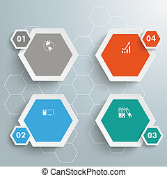 4 Colored Hexagons Hexagon Background - Infographic with...
