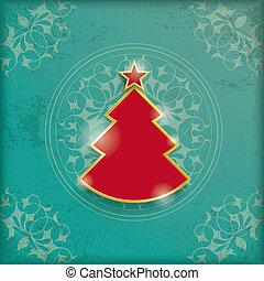 Vintage Background Christmas Tree - Vintage background...
