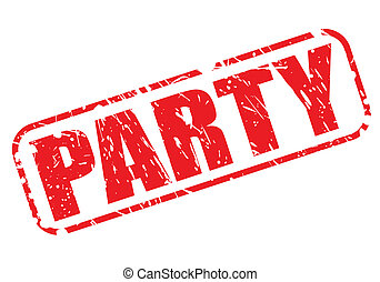 Party red stamp text on white