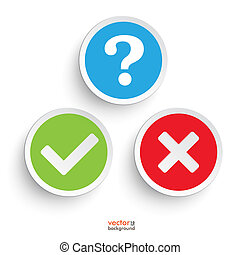 Question Yes No Round Icons - Question, yes and no round...