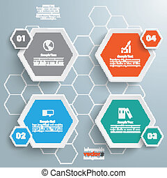 4 Colored Hexagons Background - Infographic with honeycomb...