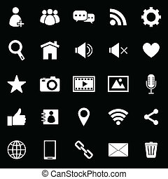 Chat icons on black background, stock vector