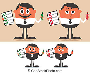 Checklist - Businessman with checklist in 4 versions No...