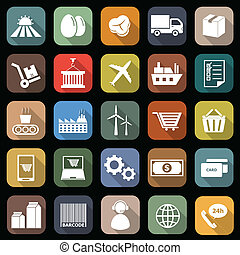 Supply chain flat icons with long shadow, stock vector