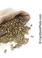 Green coffee beans. - Green coffee beans in burlap bag...