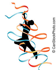 Leaping - Editable vector silhouette of a leaping man with...