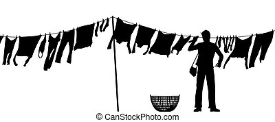 Man hanging washing - Editable vector silhouette of a man...