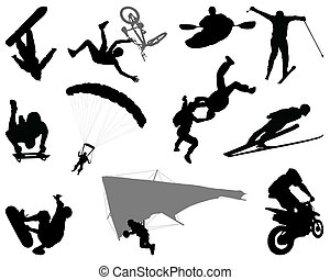 extreme sports - Silhouettes of extreme sports, vector