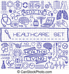 Doodle medical set of icons