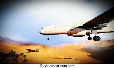 passanger plane over sahara desret