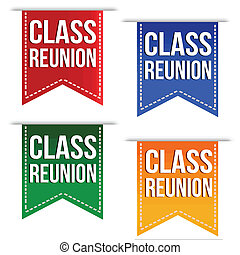 Class reunion ribbons set in different colours on white,...