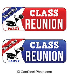 Class reunion banners on white background, vector...