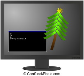 Christmas tree from paper stickers on LCD monitor