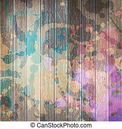 Wooden with paint splashes template plus EPS10 - Grunge...