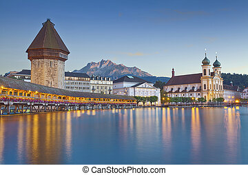 Lucerne. - Image of evening cityscape of Lucerne,...