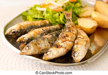 fervido, batatas, salada, mediterrâneo, sardinhas, grelhados