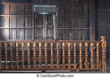 All wood curved staircase with detail close up