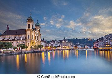 Lucerne. - Image of evening cityscape of Lucerne,...