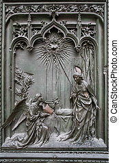 Detail of the main door at the Duomo Cathedral in Milan
